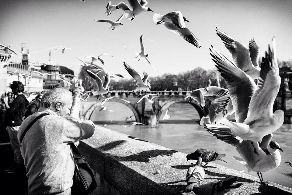 foto in bianco e nero lungotevere, Roma